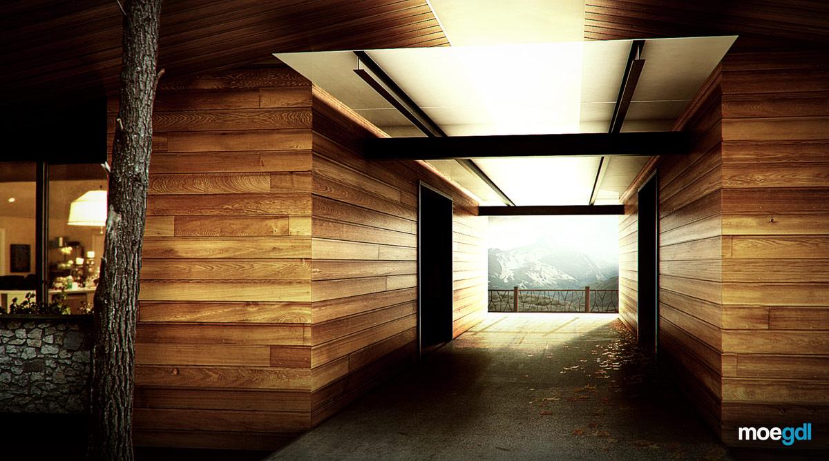 Render Exterior Casa Campo Lovell Perspectiva -moegdl