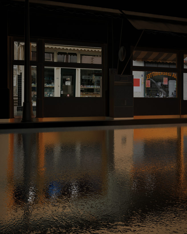 Render Exterior Central Kebab House Reflection - moegdl