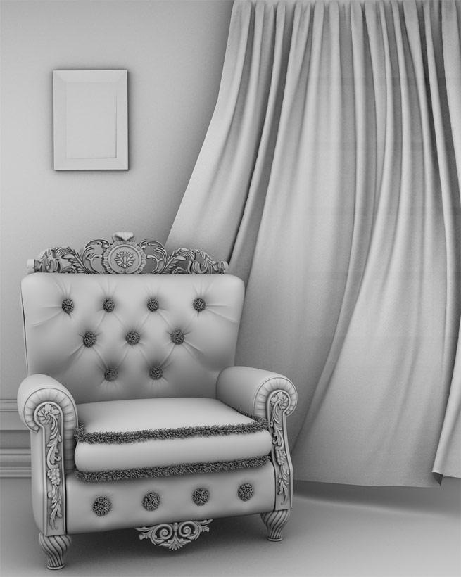 Render Interior Casa Tradicional Hall (AO) Ambient Occlusion - moegdl