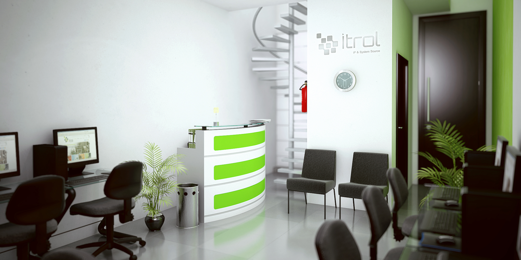 Render interior oficinas itrol for Interior oficina