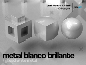 metal blanco brillante / glazed white metal