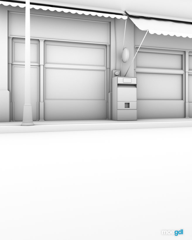 Render Exterior Central Kebab House (AO) Ambient Occlusion - moegdl