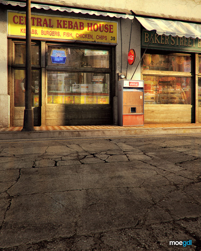 Applying Textures Photoshop: Central Kebab House « Render by moegdl